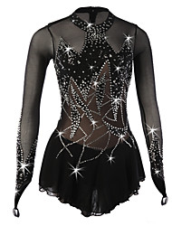 cheap -Figure Skating Dress Women's Girls' Ice Skating Dress Black Spandex Rhinestone Sequin High Elasticity Performance Skating Wear Handmade