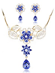 cheap -Women's Crystal Jewelry Set - Gold Plated Flower Fashion Include Bridal Jewelry Sets Blue For Wedding / Birthday
