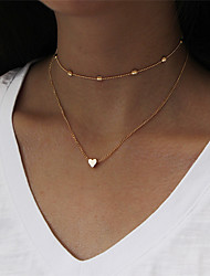 cheap -Women's Heart Choker Necklace Layered Necklace - Sexy Fashion Heart Gold Silver Necklace For Evening Party New Year