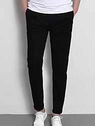 Herre Normal Simple Mikroelastisk Chinos Bukser, Medium Talje 100% Polyester Ensfarvet Forår