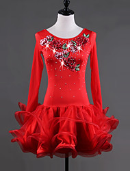 baratos -Dança Latina Vestidos Mulheres Espetáculo Elastano Organza Bordado Cristal / Strass Babados em Cascata Manga Longa Vestido
