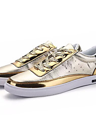 Homens sapatos Couro Ecológico Primavera Outono Conforto Tênis para Casual Dourado Preto Prata