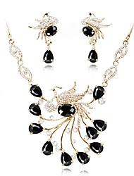 preiswerte -Damen vergoldet Schmuck-Set 1 Halskette Ohrringe - Klassisch Modisch Schwarz Schmuckset Braut-Schmuck-Sets Für Hochzeit Büro & Karriere