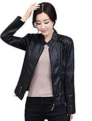 Недорогие -Для женщин На каждый день Офис Осень Зима Кожаные куртки Воротник-стойка,Простой Однотонный Короткая Длинный рукав,Полиуретановая