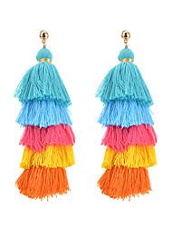 baratos -Mulheres Brincos Compridos - Borla, Fashion Cinzento / Azul Claro / Azul Real Para Carnaval / Para Noite