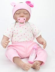 billige -NPK DOLL Reborn-dukker Babypiger 22 inch Silikone / Vinyl - livagtige, Hånd Anvendte Øjenvipper, Tippede og forseglede negle Børne Pige Gave / CE / Naturlig hudfarve / Floppy Head