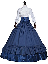 abordables -Victorien Costume Femme Adulte Tenue blanc + bleu. Vintage Cosplay 50% Coton/ 50% Polyester Manches 3/4 Gigot / Ballon