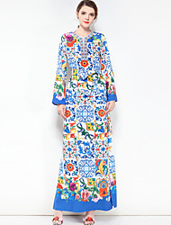 abordables -Femme Grandes Tailles Bohème Ample Robe - Basique, Fleur Maxi