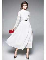 cheap -Women's Holiday Vintage A Line Midi Dress, Solid Color Lace Round Neck Long Sleeves Spring