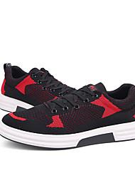 Herre Sko Strik Forår Sommer Komfort Dykesko Sneakers Sidedrapering for Afslappet udendørs Hvid Sort Rød