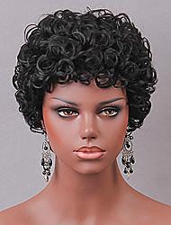 preiswerte -Damen Menschliches Haar Capless Perücken Locken Kurz Schwarz