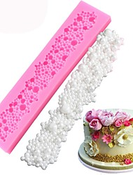billiga -pärlkaka kant silikon formar bröllop julkaka cake fondant dekorera verktyg gumpaste choklad lera mögel