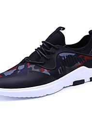 baratos -Homens sapatos Tecido Primavera Outono Conforto Tênis Caminhada para Atlético Preto Preto/Vermelho