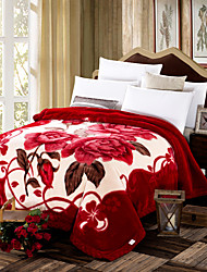 cheap -Coral fleece, Printed Floral / Botanical Polyester/Polyamide Blankets