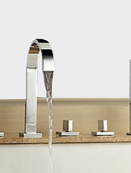 cheap -Bathtub Faucet - Contemporary Chrome Widespread Brass Valve