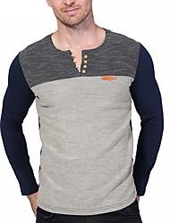 cheap -Men's Simple Plus Size Cotton T-shirt - Color Block, Patchwork Round Neck