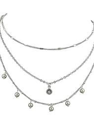 Недорогие -Жен. Слоистые ожерелья - Простой, Классический Золотой, Серебряный Ожерелье Бижутерия Назначение Повседневные, Новый год