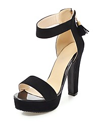 cheap -Women's Shoes Nubuck leather Summer Ankle Strap Sandals Chunky Heel Open Toe Tassel for Party & Evening Black Camel