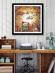 abordables -Abstrait Bande dessinée Illustration Art mural,Plastique Matériel Avec Cadre For Décoration d'intérieur Cadre Art Salle de séjour