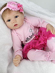 cheap -NPK DOLL Reborn Doll Baby Girl 22 inch Silicone / Vinyl - lifelike, Hand Applied Eyelashes, Tipped and Sealed Nails Kid's Girls' Gift / CE Certified / Natural Skin Tone / Floppy Head