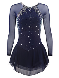 cheap -Figure Skating Dress Women's Girls' Ice Skating Dress Dark Blue Spandex Rhinestone Sequined High Elasticity Performance Skating Wear
