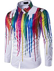 Недорогие -Муж. С принтом Рубашка Классический воротник Тонкие Геометрический принт / Длинный рукав