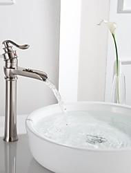 economico -Lavandino rubinetto del bagno - Cascata Bronzo lucidato / Nickel spazzolato Installazione centrale Una manopola Un foro