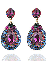 baratos -Mulheres Caído Cristal / Gema Cristal / Imitações de Diamante Brincos Compridos - Fashion / Europeu Roxo Brincos Para Cerimônia / Para