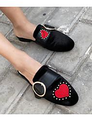 Недорогие -Жен. Обувь Бархатистая отделка Полиуретан Весна Осень Удобная обувь Башмаки и босоножки На низком каблуке для Повседневные Черный