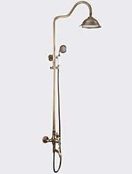 Недорогие -Античный По центру Водопад Вытяжная лейка Вращающийся Керамический клапан Одной ручкой Два отверстия Античная медь, Смеситель для душа