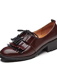abordables -Femme Chaussures Cuir Printemps Automne Confort Mocassins et Chaussons+D6148 Talon Bottier Bout rond Gland pour Noir Marron