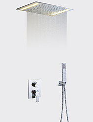 cheap -Contemporary Shower System Rain Shower Handshower Included LED Ceramic Valve Two Handles Three Holes Chrome, Shower Faucet