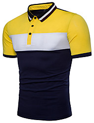 cheap -Men's Active Cotton Polo - Color Block Black & White, Basic Shirt Collar / Short Sleeve