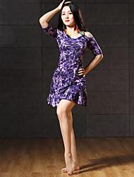 abordables -Danza del Vientre Vestidos Mujer Rendimiento Fibra de Leche Diseño / Estampado Media Manga Vestido