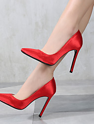 cheap -Women's Shoes Satin Spring / Fall Basic Pump Heels Stiletto Heel Pointed Toe Silver / Red / Pink / Party & Evening