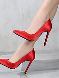 preiswerte -Damen Schuhe Satin Frühling / Herbst Pumps High Heels Stöckelabsatz Spitze Zehe Silber / Rot / Rosa / Party & Festivität