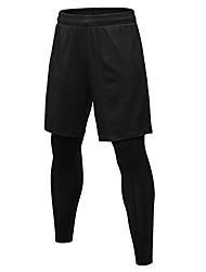 baratos -Homens Leggings de Corrida - Preto, Cinzento Esportes Sólido Meia-calça / Leggings Exercício e Atividade Física Roupas Esportivas Respirabilidade Com Stretch