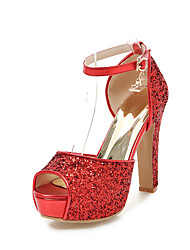 preiswerte -Damen Schuhe Paillette Frühling Sommer Pumps Sandalen Stöckelabsatz Peep Toe Schnalle für Hochzeit Party & Festivität Gold Schwarz Silber
