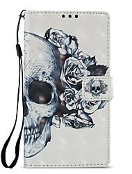 abordables -Coque Pour Sony Xperia L2 Xperia XZ2 Porte Carte Portefeuille Avec Support Clapet Motif Coque Intégrale Crânes Dur faux cuir pour Xperia