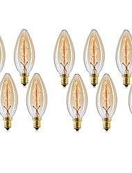 abordables -10pcs 40W E14 C35 Blanco Cálido 2200-2700 K Retro Regulable Decorativa Bombilla incandescente Vintage Edison 220-240V V