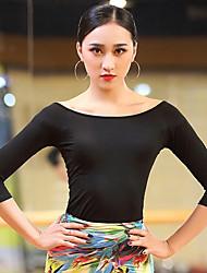abordables -Baile Latino Tops Mujer Rendimiento Algodón Modal Fruncido Manga 3/4 Top