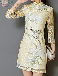 abordables -Femme Chinoiserie Mince Moulante Robe Fleur Taille haute Col Ras du Cou Au dessus du genou