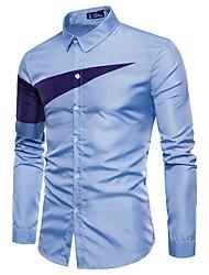 preiswerte -Herrn Schachbrett - Chinoiserie Baumwolle Hemd, Klassischer Kragen