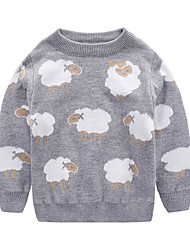 cheap -Unisex Daily Holiday Animal Print Sweater & Cardigan, Cotton Winter Fall Long Sleeves Active Blushing Pink Gray