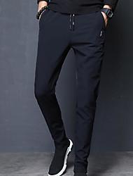 baratos -Calças de calças micro-elásticas normais de meia altura masculina, mola de nylon sólido simples