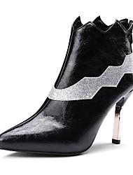 Недорогие -Жен. Обувь Дерматин Зима Модная обувь Ботинки На шпильке Заостренный носок Ботинки Пайетки Черный / Вино