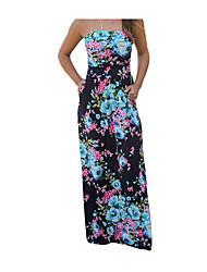 baratos -Mulheres Moda de Rua balanço Vestido - Franzido, Floral Longo