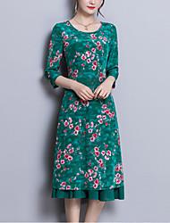 baratos -Mulheres Para Noite Sofisticado Seda Delgado Evasê Vestido - Estampado, Floral Médio