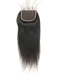 cheap -Laflare Brazilian Straight 4x4 Closure With Baby Hair Weft Swiss Lace Remy Free Part Middle Part 3 Part Silky New Arrival