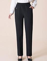 cheap -Women's Plus Size Straight Pants - Solid Low Rise